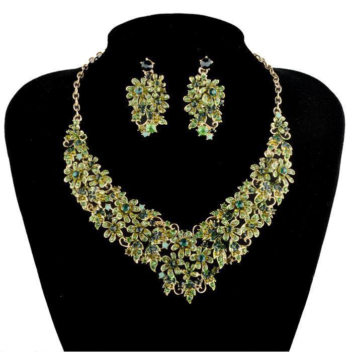 Luxury crystal necklace and earrings Pageant set in green and more.
