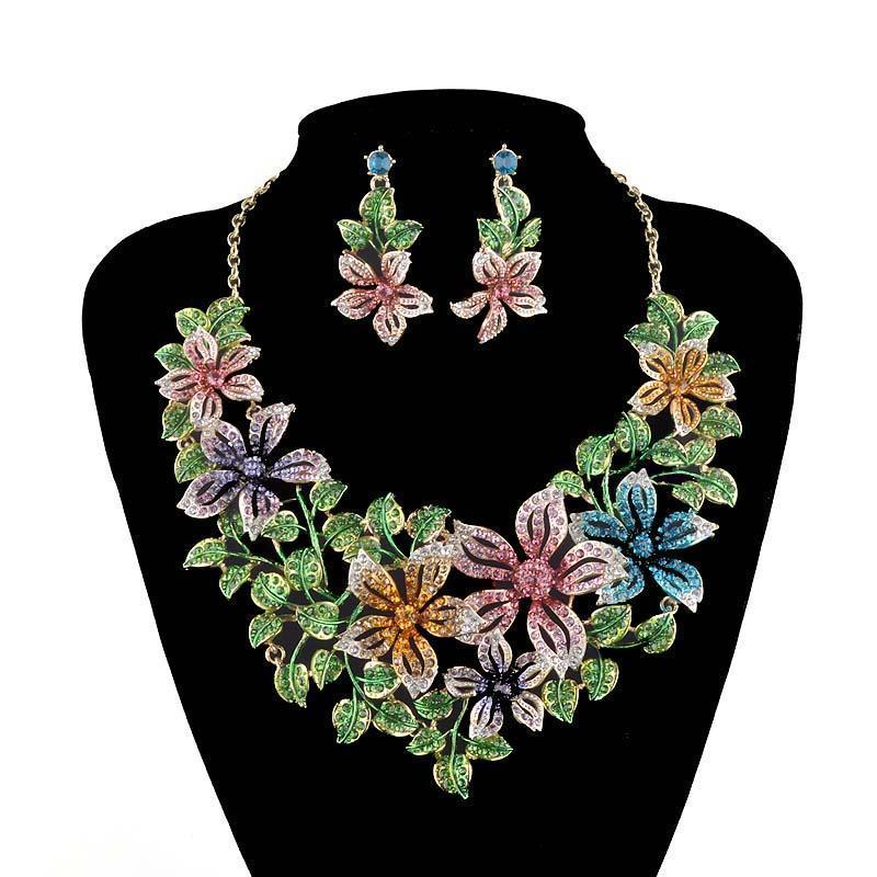 Luxury crystal floral necklace and earrings pageant set in multi.