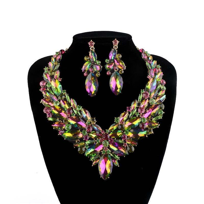 Luxury rhinestone crystal necklace and earrings Pageant set in multi.