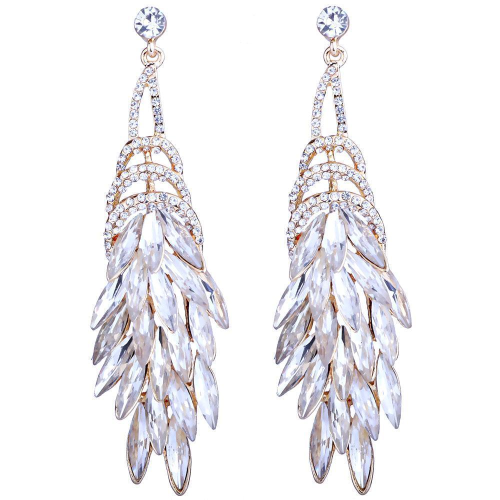 Feather drop pageant earrings in white/silver, white/gold, blue and brown.