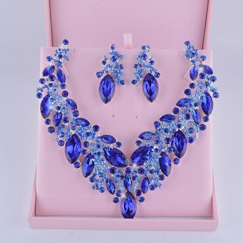 Luxury rhinestone crystal necklace and earrings Pageant set in royal blue.