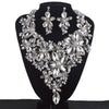 Luxury rhinestone crystal necklace and earrings pageant set in AB, gold and silver. - jovani-dress