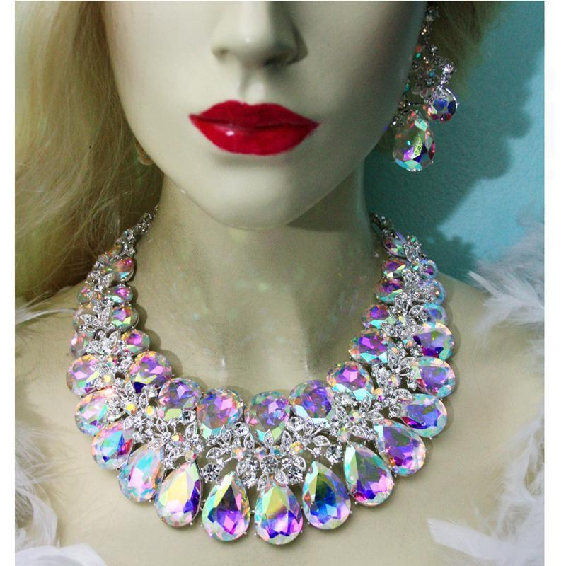 Luxury rhinestone AB crystal necklace and earrings pageant set. - jovani-dress