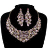 Luxury crystal necklace and earrings pageant set in pink, black, brown and AB.