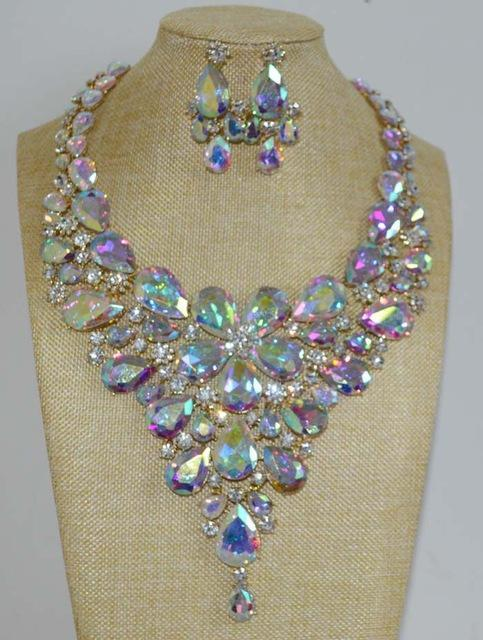 Luxury rhinestone crystal necklace and earrings pageant set in AB and silver.