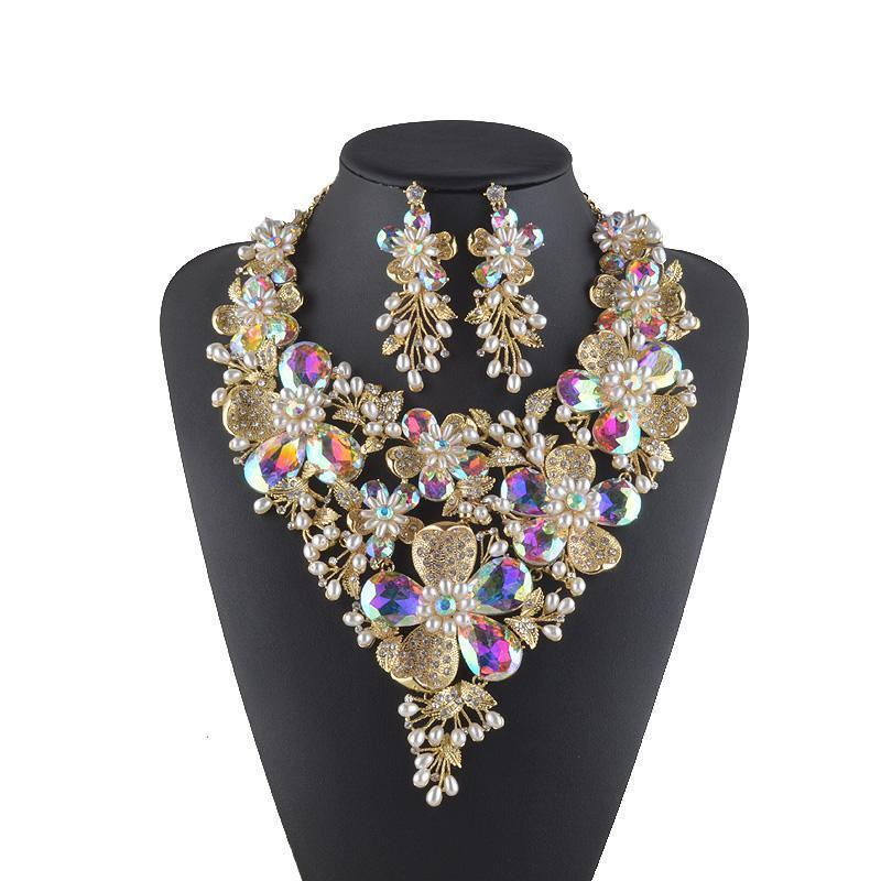 Luxury floral AB crystal necklace and earrings pageant set.