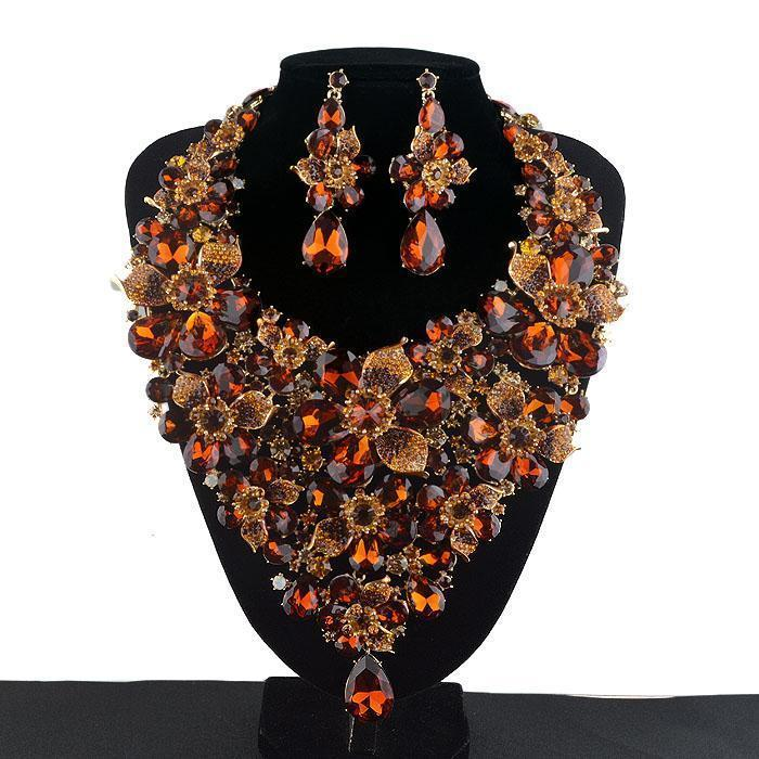 Luxury rhinestone crystal necklace and earrings Pageant set in brown, multi, fuchsia, blue and more.