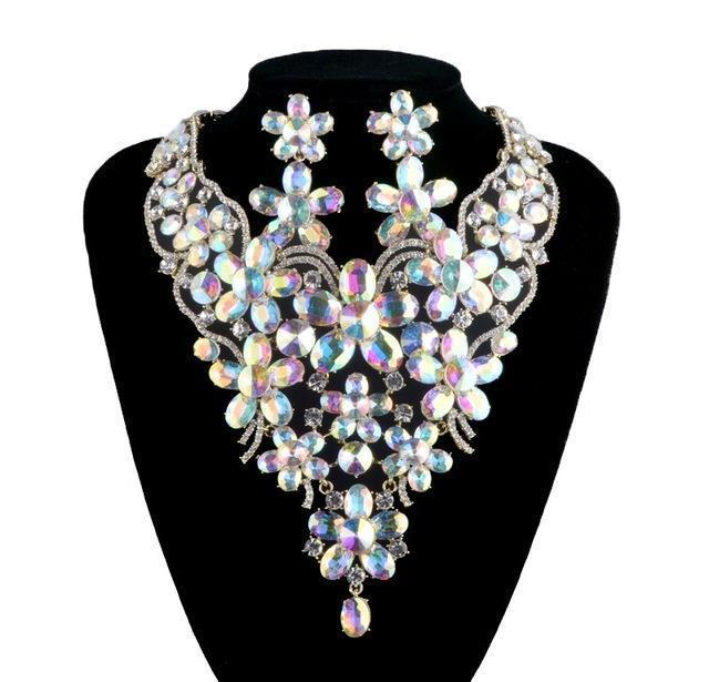 Luxury rhinestone crystal necklace and earrings pageant set in AB and silver. - jovani-dress