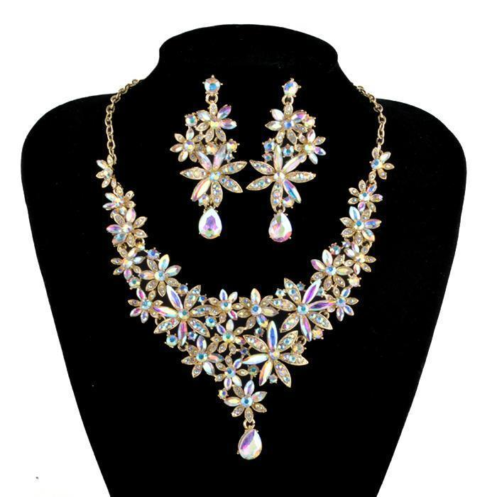 Luxury AB crystal necklace and earrings Pageant set.