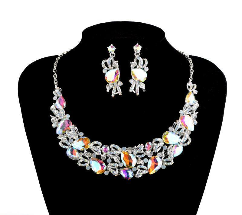 Luxury AB crystal necklace and earrings pageant set in silver.