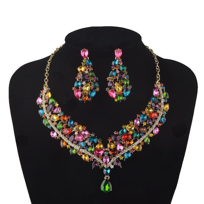 Luxury crystal rhinestone necklace and earrings pageant set in multi, AB, silver, blue, purple and more.