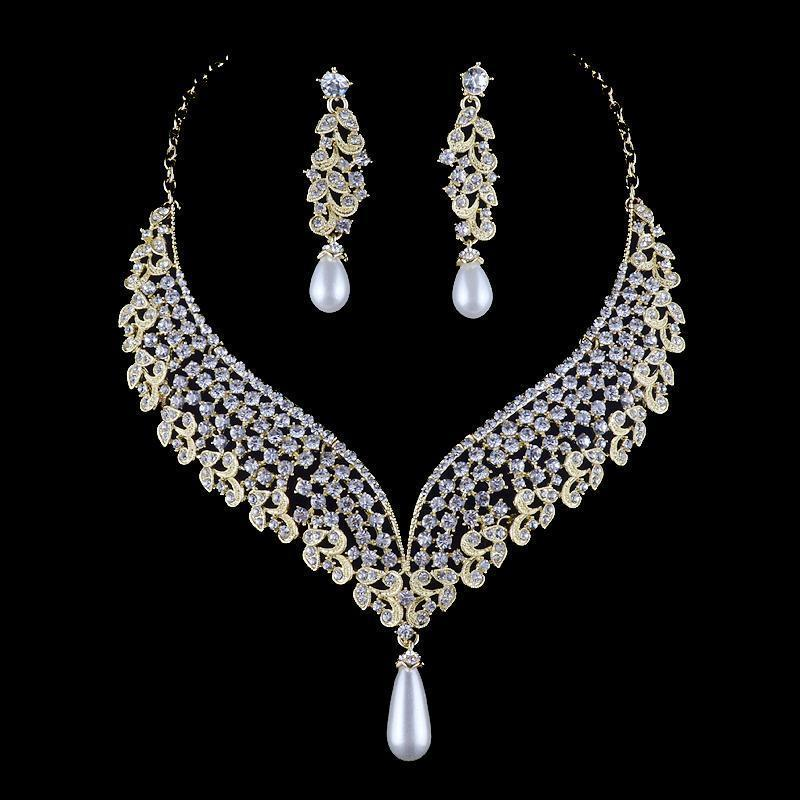 Luxury silver and gold pearl necklace and earrings pageant and prom set.