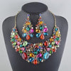 Luxury crystal rhinestone necklace and earrings pageant set in multi, blue, champagne and more.
