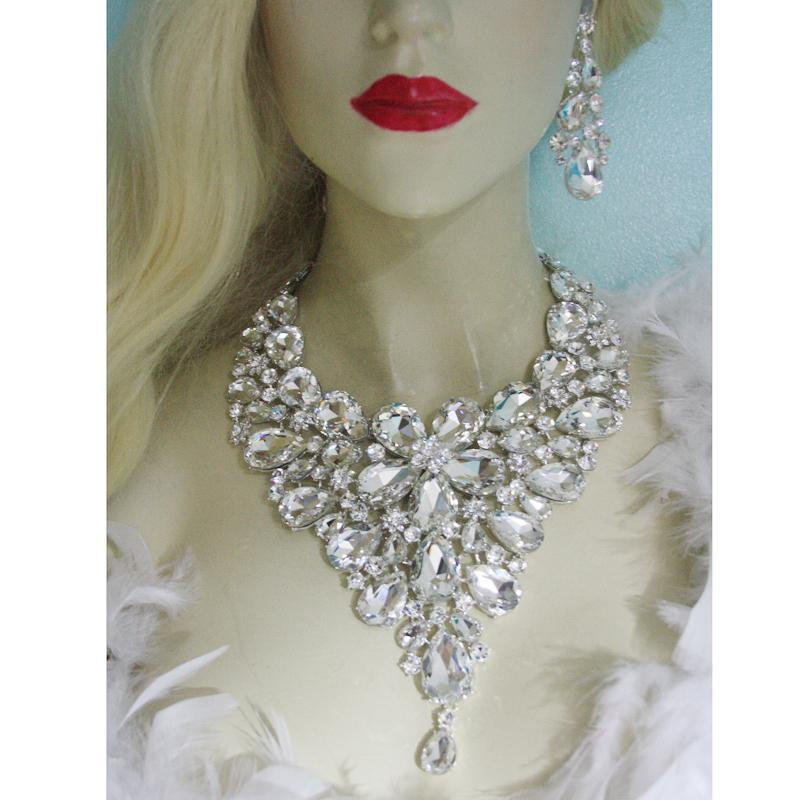 Luxury crystal necklace and earrings pageant set in silver.