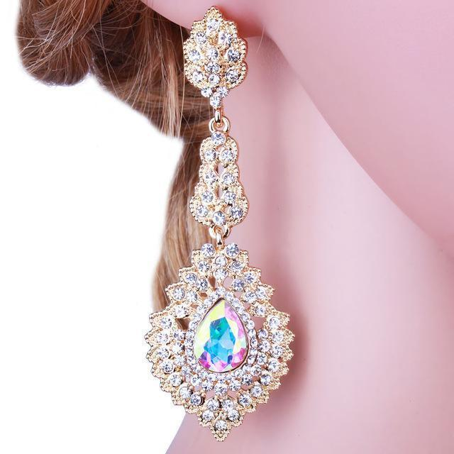 Long pageant earrings in AB and silver. - jovani-dress