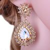 Large drop pageant earrings in AB, silver, brown, blue, green, red and more. - jovani-dress
