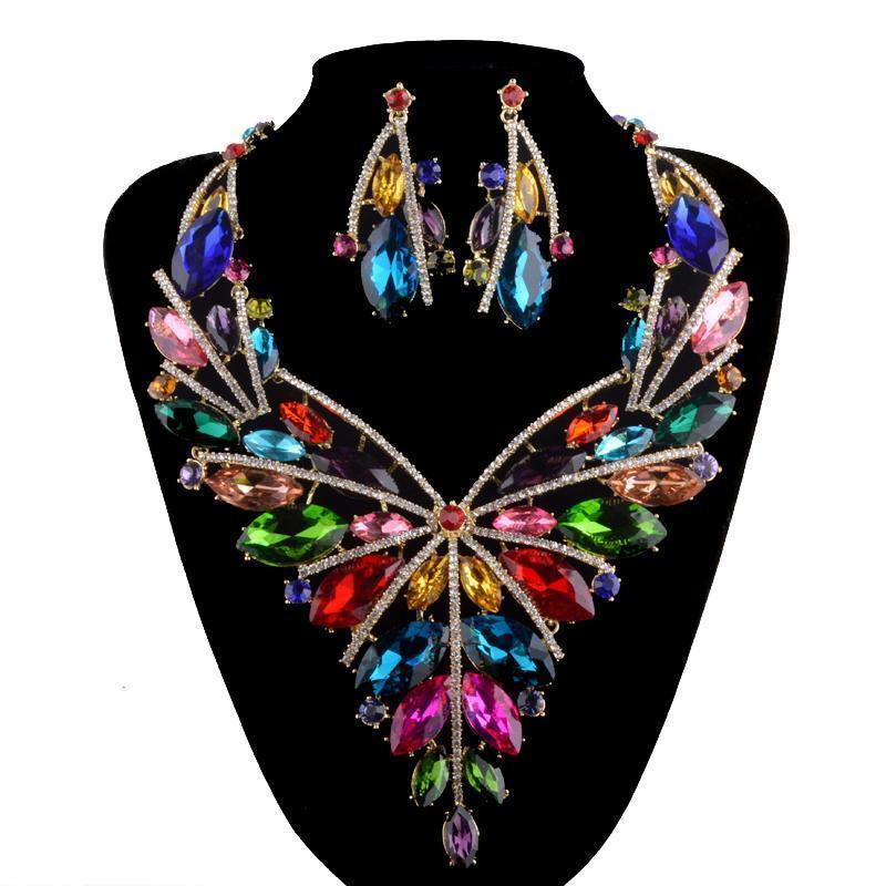 Luxury crystal rhinestone necklace and earrings pageant set in multi.