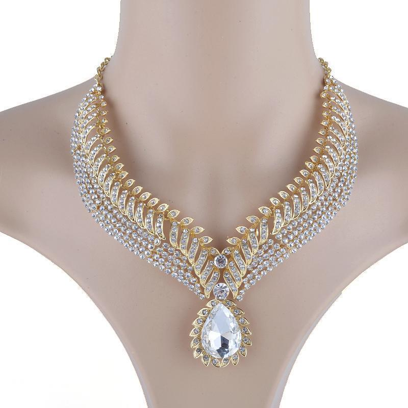 Luxury rhinestone crystal necklace and earrings pageant set in silver.