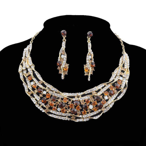 Luxury rhinestone crystal necklace and earrings pageant set in brown, pink, green, blue, multi and more. - jovani-dress