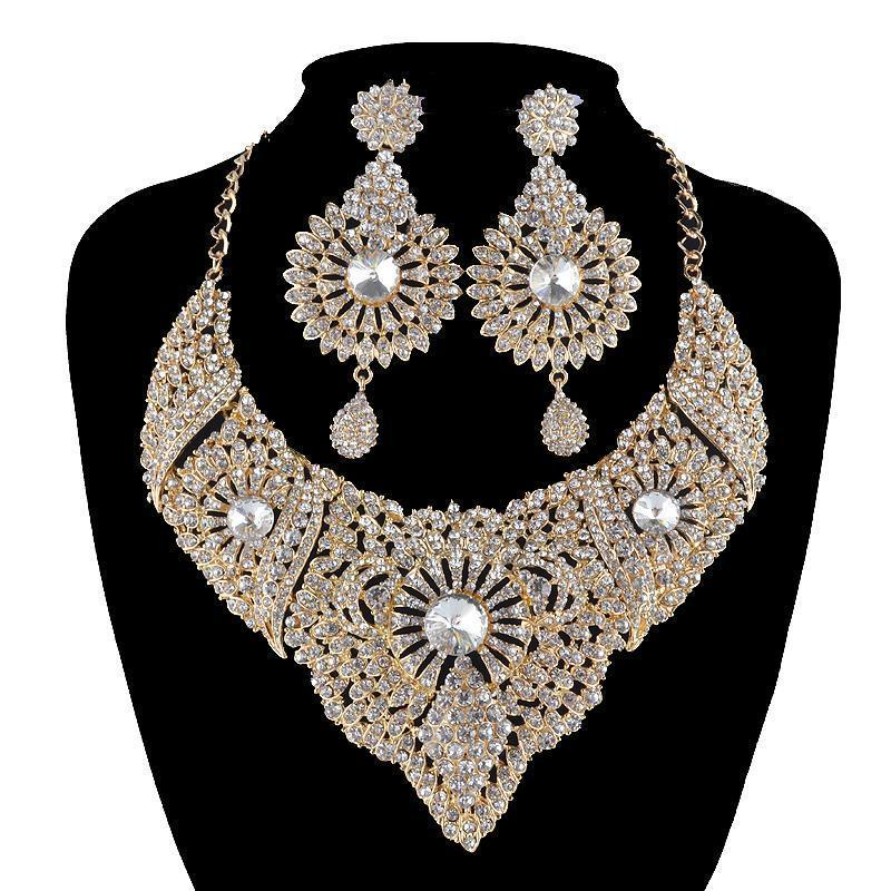 Luxury crystal necklace and earrings pageant set in silver/gold.