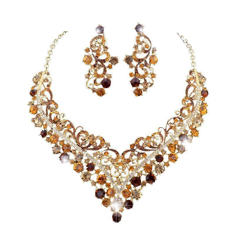 Luxury crystal necklace and earrings pageant set in brown, green, red, black and more.