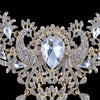 Luxury crystal necklace and earrings pageant set in gold/silver.