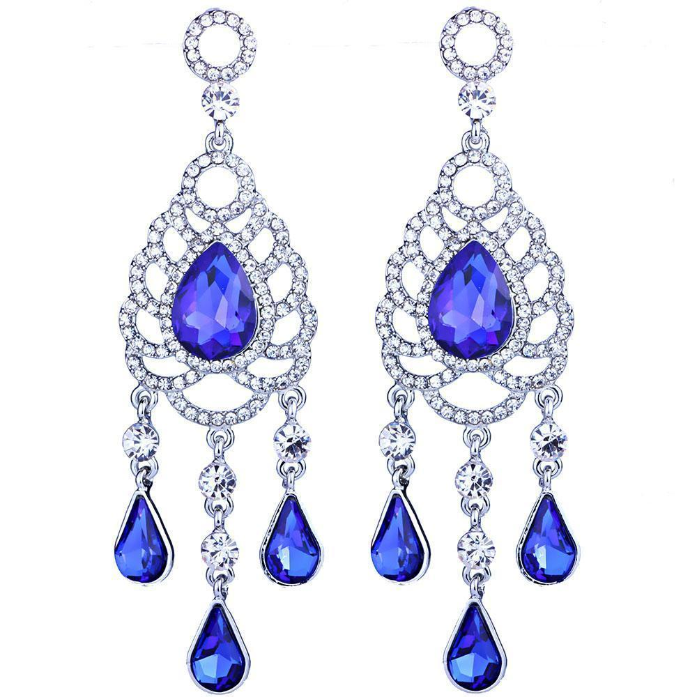 Water drop pageant earrings in royal blue, red, silver and brown. - jovani-dress