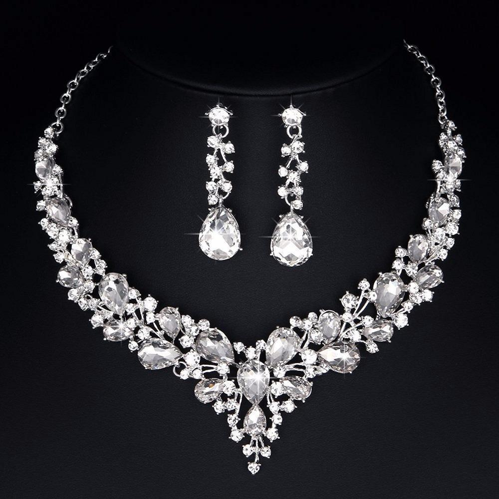 Luxury rhinestone crystal necklace and earrings pageant set in silver, red, black, blue, champagne and AB.