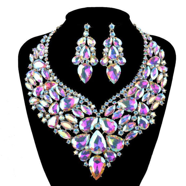Luxury rhinestone crystal necklace and earrings pageant set in AB, green, white, black and more. - jovani-dress