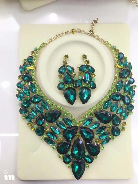 Luxury rhinestone crystal necklace and earrings pageant set in AB, green, white, black and more.