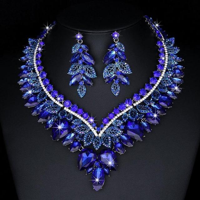 Luxury rhinestone crystal necklace and earrings pageant set in royal blue, AB, fuchsia and more.