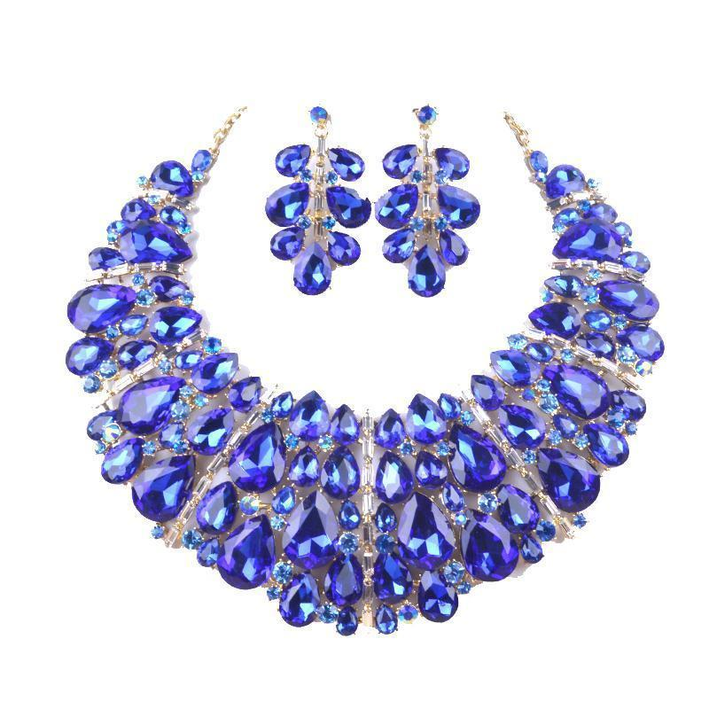 Luxury rhinestone crystal necklace and earrings pageant set in blue, AB, silver, champagne and more.