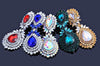 Pageant earrings in AB, red, blue and more.