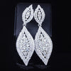 Tear drop pageant earrings in gold, silver and multi. - jovani-dress