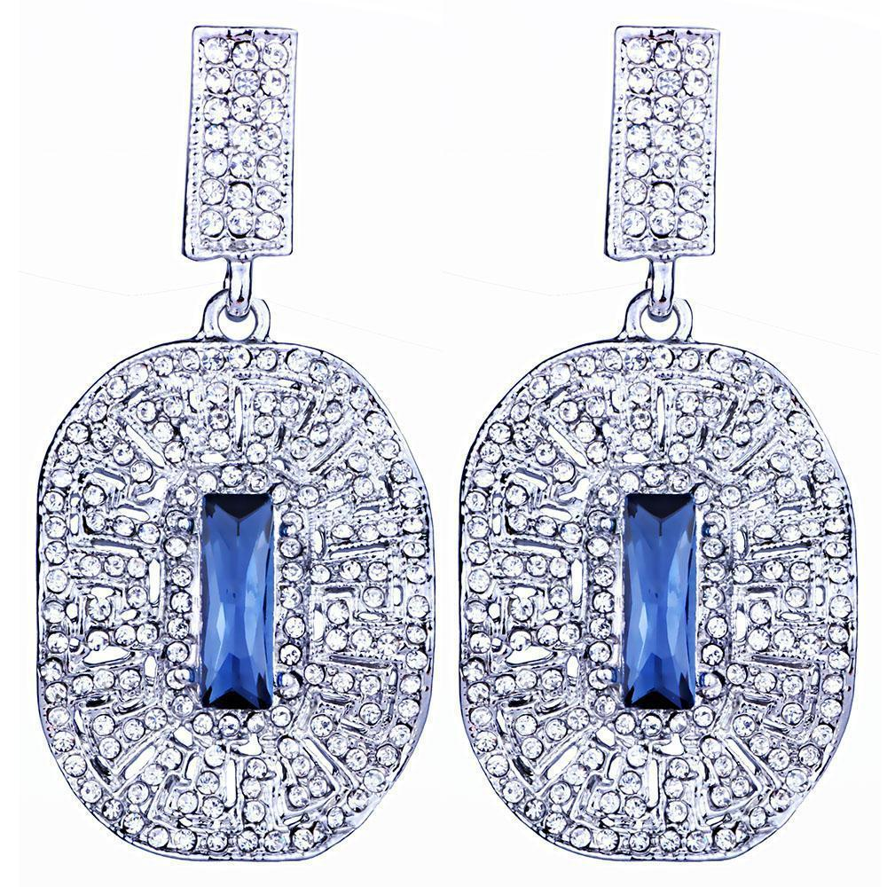 Small drop prom and pageant earrings in red and blue.