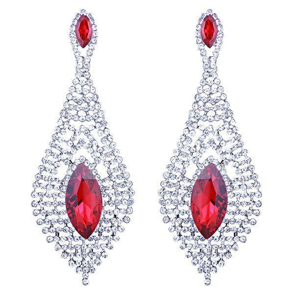 Tear drop pageant earrings in blue, red and silver. - jovani-dress