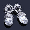 Small drop pageant or prom earrings in silver, black and AB.