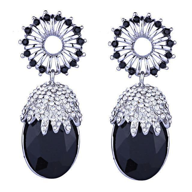 Small drop pageant or prom earrings in silver, black and AB. - jovani-dress