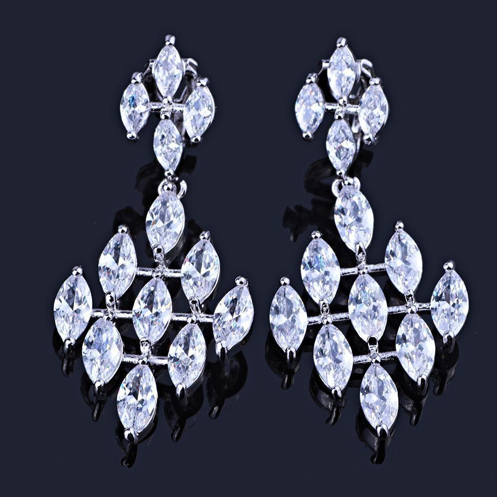 Cubic zirconia pageant earrings in silver.
