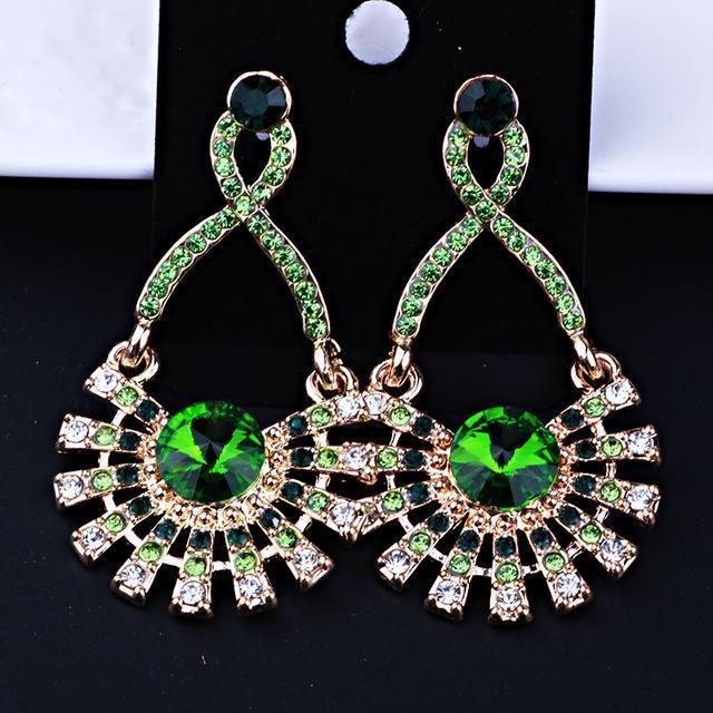 Pageant earrings in multi, red, green, AB, pink and more.