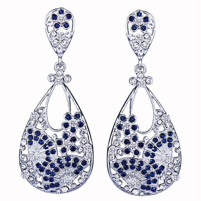 Large pageant earrings in navy blue and silver. - jovani-dress