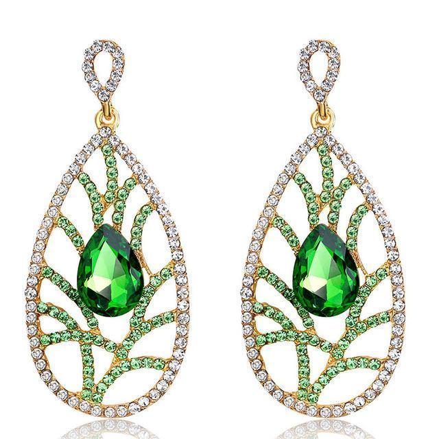 Large pageant earrings in green, purple and silver. - jovani-dress
