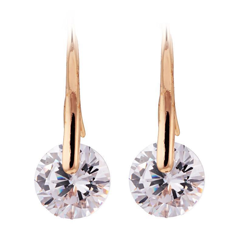 Small drop prom or pageant earrings in rose gold and silver. - jovani-dress