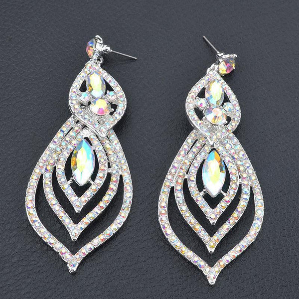 Long tear drop pageant earrings in AB crystal.