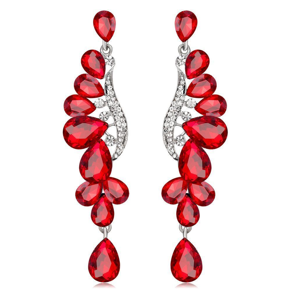 Long pageant earrings in red, blue and silver.