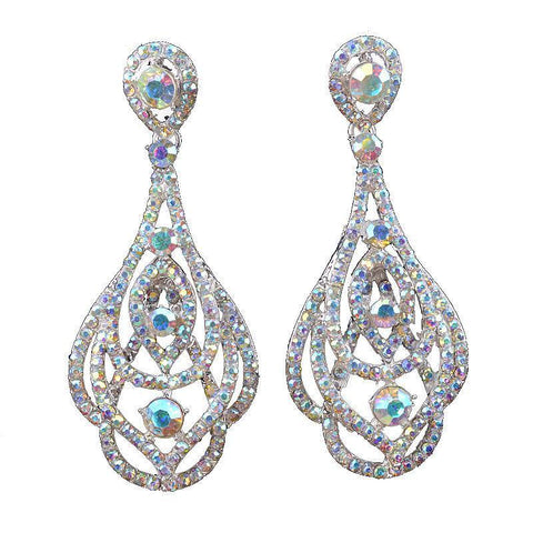 Long pageant earrings in AB crystal.