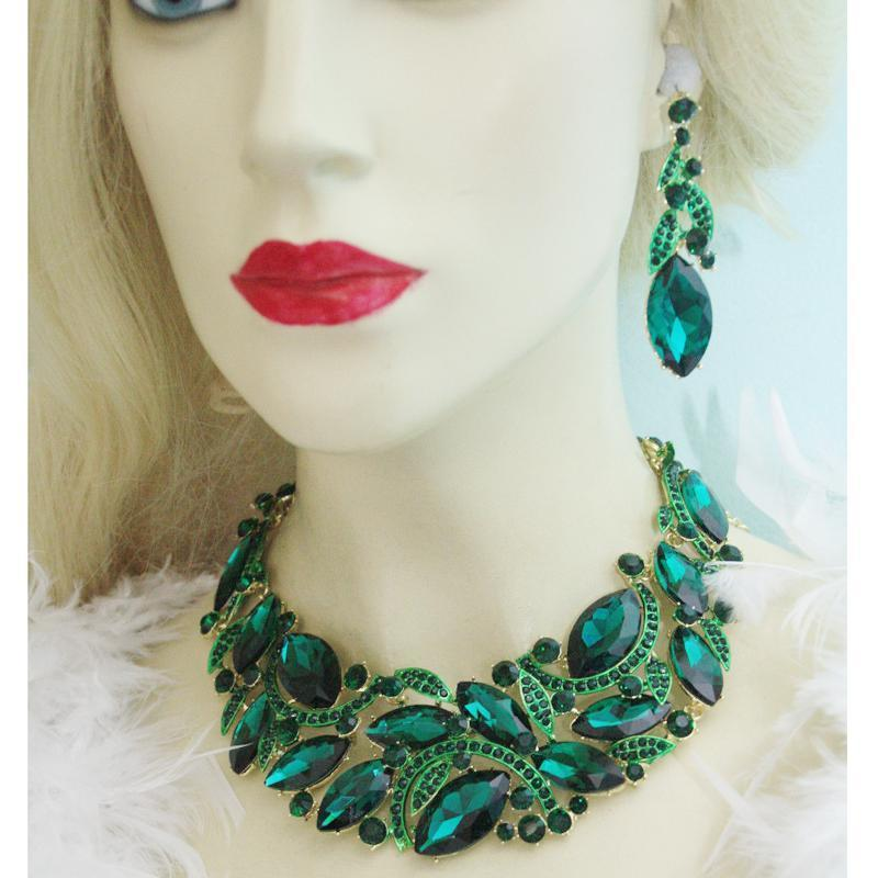 Luxury rhinestone crystal necklace and earrings pageant set in green, red, blue, champagne and black.