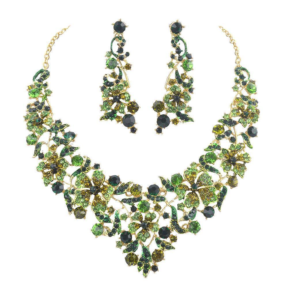 Luxury crystal necklace and earrings pageant set in green.