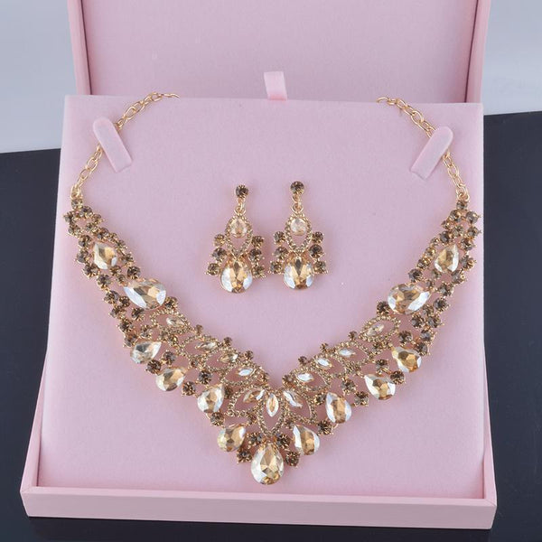Luxury rhinestone crystal necklace and earrings pageant set in champagne, multi and silver.