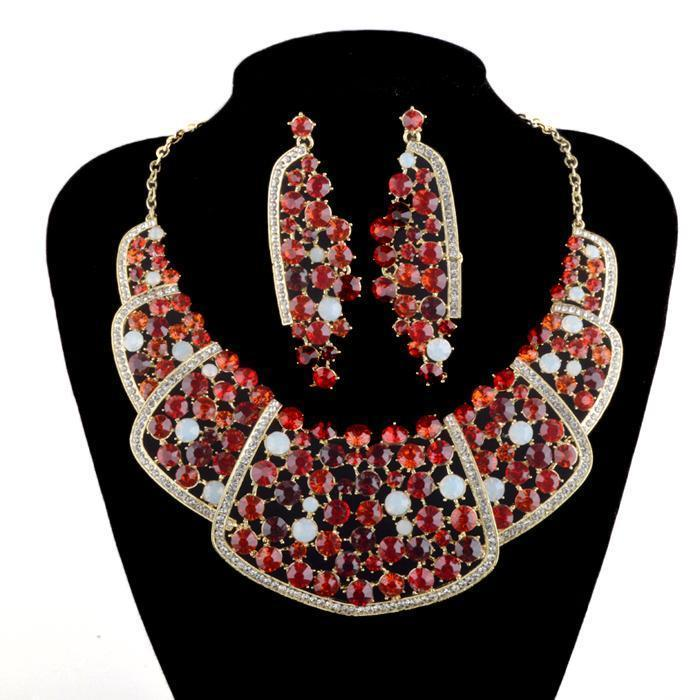 Luxury crystal necklace and earrings pageant set in red, AB and multi.